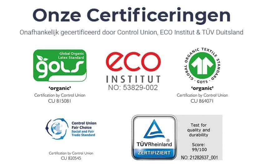 Afbeelding van Una biologisch latex schuim en tijk certificeringen